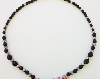 Lava bead, faux pearl and pip bead necklace