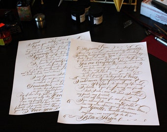 Custom Calligraphy Vows weddings marriage proposal gift