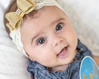 Gold Baby Headband, Gold Bow Lace Headband, Newborn Headband, Photo Prop, Lace Headband, Gold Bow Headband, Bow Headband, Gold Headband, 869
