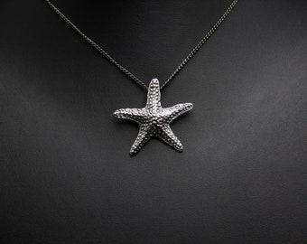 Sterling silver starfish pendant, starfish necklace, diver gift, nautical pendant, sea ocean pendant, large pendant, silver sea star