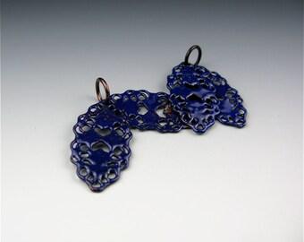 Enameled Oval Filigree / Cobalt Blue Enamel / Made to order