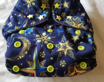 Custom  Celestial Diaper you choose type and size Nb/Sm or Onesize
