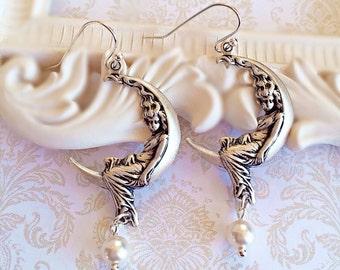 Crescent Moon Jewelry - Fairy Moon Earrings - Goddess Jewelry - Silver Boho Earrings - Art Nouveau Jewelry - LUNA Silver