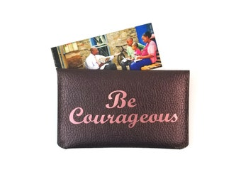 Brown faux leather envelope business contact card holder wallet jw contact card wallet be courageous rose gold ministry organizer ministry