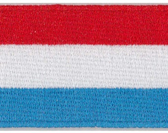 Flag of Luxembourg Iron On Patch 2.5 x 1.5 inch Free Shipping (Small)