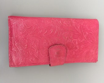 Vintage handmade leather woman embossed wallet cards coins purse clutch