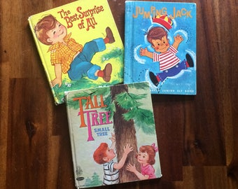 3 Vintage Children's Books Jumping Jack (1962), The Best Surprise of All (1961), Tall Tree Small Tree (1970); Hardcover, Illustrated Whitman