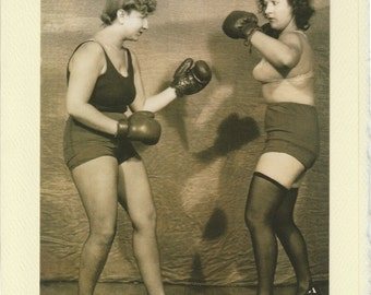 Playing Nice: Vintage LGBTQ Card - encouragement card, women boxing, funny lesbian card, girlfriends argument card, apology card