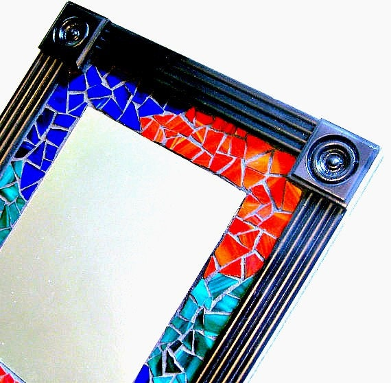 Mosaic Wall Mirror, Framed Mosaic Mirror, Multicolored Mosaic Mirror, Black Red Blue Green Mirror, Stain Glass Mirror, Black Framed Mosaic