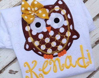 Owl shirt or bodysuit for girls and baby girls -- Autumn Owl -- Brown and amber gold polka dot owl and name