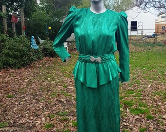 80s Dress, Cocktail Dress, Vintage Dress, Green Dress, Peplum Dress, Work Dress, St. Patricks Day, 80s Costume, Vintage Costume, Brocade