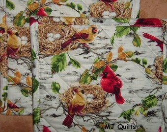"Pick a Print-Set of 2 (8"")  Poppies-Daisies-Quilted-Handmade-Insulated-Hot Pads-Pot Holders-Made in USA"