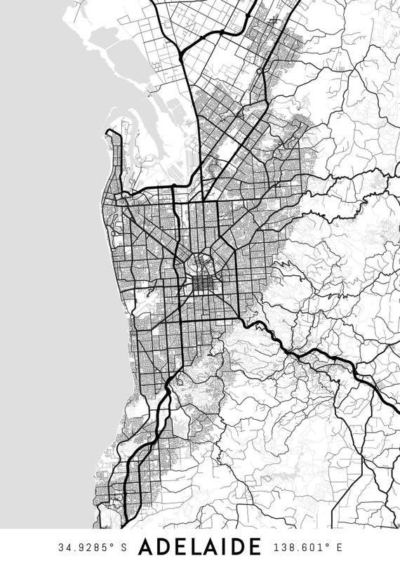 Adelaide map print Adelaide print Adelaide city map