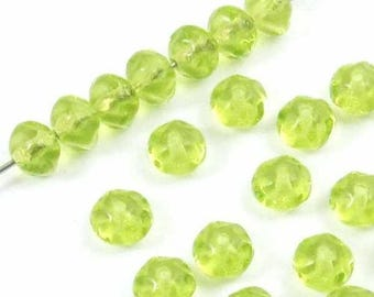 Wavy Rondelle Czech Glass Beads-BRIGHT LIME GREEN 5x6mm (30)