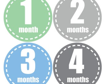 Baby monthly stickers Boy, Miletsone stickers, Baby Boy stickers, Bodysuit monthly stickers, Baby shower gift, green, blue, grey, A150