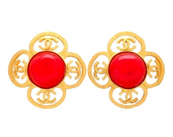 Authentic vintage Chanel earrings flower CC logo red stone #ea2040