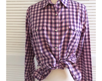 Wrangler Pink & Blue Plaid Top, Button Down, Cowgirl Top, Large