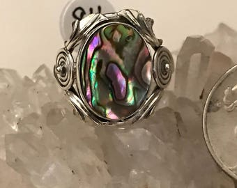 Abalone Ring Size 8 1/2