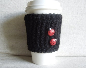 Lady Bug Coffee Cozy, Coffee Sleeve, Mug Sweater, Mug Cozy with Lady Bugs, Gift for Her, Coffee Lover Gift