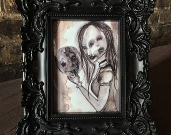 Gothic Home Decor_Horror Decor_Wall Art_Conceptual Art_Art Prints_Gothic Art_Creepy Art_Watercolor Print_Dark Art
