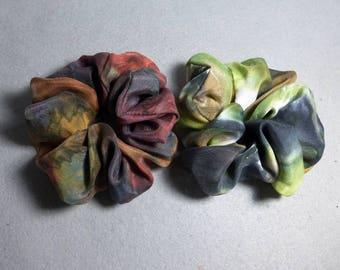 "Silk Scrunchies (set of 2 medium) ""Rust-Brown and Moss-Khaki-Black"", Hand Painted Silk Scrunchies, Camo Hair Tie"
