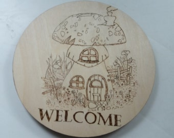 Welcome mushroom woodland home  shed birch wooden ply wall plaque