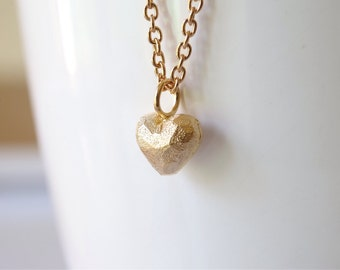 Gold heart necklace. Gold plated Heart Pendant. Love Gifts. Heart Charm Necklace.