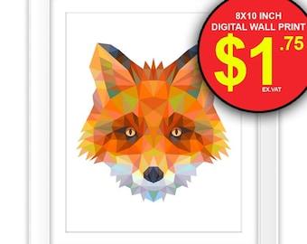 Geometric Fox Wall Art Print, Instant Download, 8x10 Inch, Digital Print