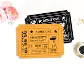 Oscar Party Invitation, Movie Night Party, Movie Ticket, Ticket Stub, Ticket Invitation, Invitation Template, Printable Invitation, Editable