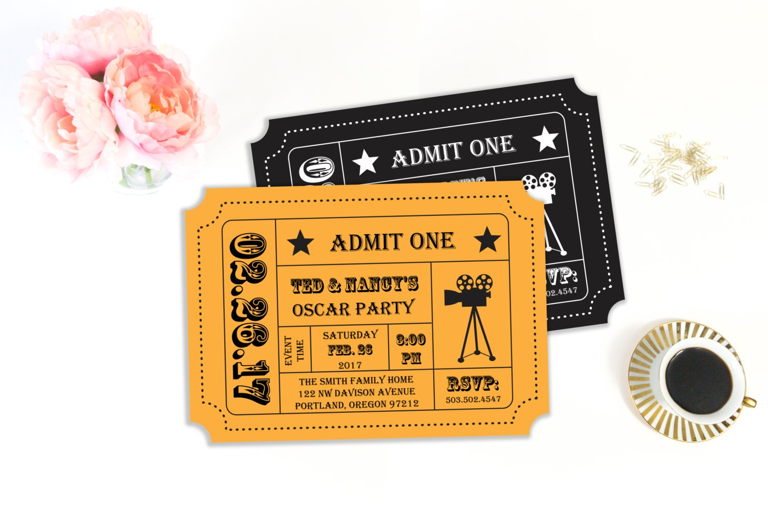 Oscar Party Invitation Movie Night Party Movie Ticket