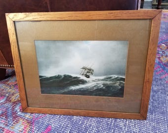 Original Gold Matted Print Tall Ship on Angry Sea Stormy