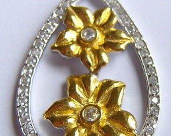 Pendant, white topaz, flowers, solid sterling silver, vermeil, vintage, flower, topaz, topaz