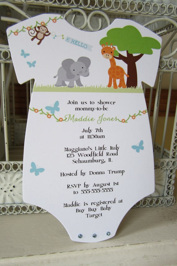 The Original Zoo or Jungle Theme Baby Shower Invitation