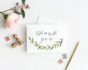 INSTANT DOWNLOAD Watercolor Olive Branch Thank You Card, Digital Download, Greenery, Printable Thank You
