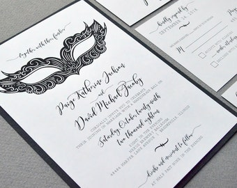 Black and White Wedding Pocket Invite Suite, Masquerade Wedding Invitation Set, Mardi Gras Wedding Invitations, Calligraphy Wedding Invites