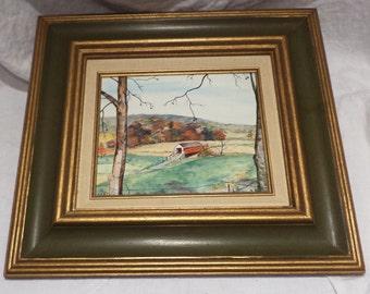Original Oil Landscape Painting, Signed, Framed, Impressionist, Covered Bridge