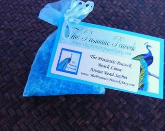 Beach Linen Scented Aroma Bead Sachet, blue, air freshener