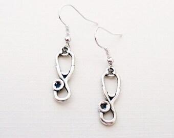 Silver Stethoscope Earrings | Medical Earrings