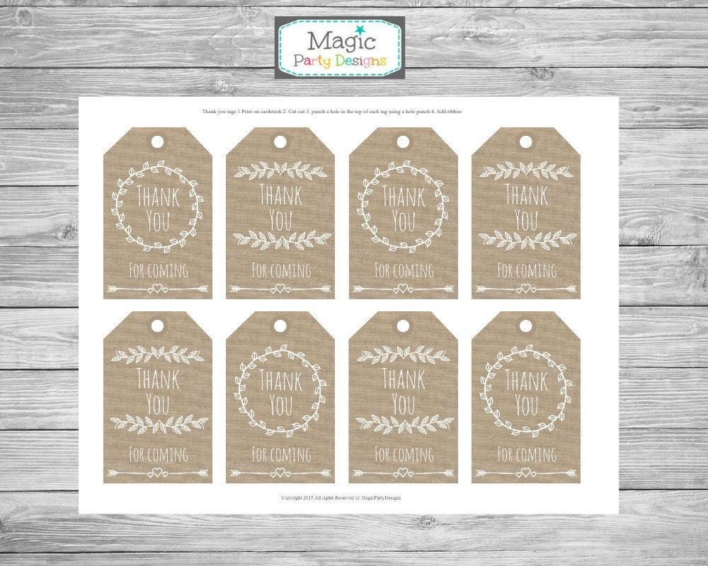 Rustic favor tags, Rustic Thank you tags, Burlap tags, printable ...