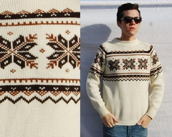 70s Snow Flake Cream Brown white Knit Long Sleeve Sweater