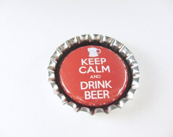Bottle Cap Fridge Magnet Home & Living, Kitchen, Storage Keep Calm Drink Beer