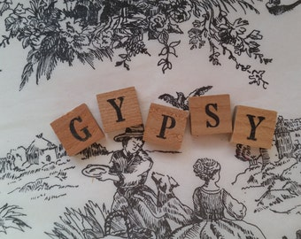 GYPSY Antique Chippy Wooden Anagrams | Alphabet Letter Tiles