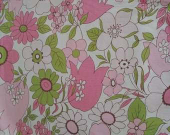 Vintage 70's Wabasso Pink Floral Double Flat  Bed Sheet/ Mod, Retro Pink Floral Top Flat Sheet