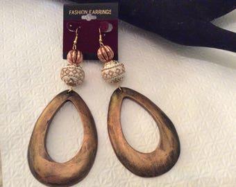 Burnished copper earrings,  teardrop earrings, clip on earrings, wood earrings, copper earrings, African jewelry, ethnic jewelry
