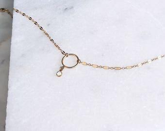 Gold Collar Layering Necklace, Layering Choker, Delicate Choker, Hoop Necklace, Gold Layered Choker, Swarovski Necklace, 14K Gold Fill