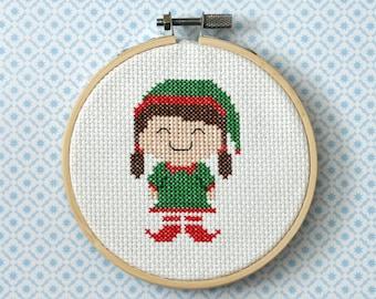 "Christmas Cross Stitch Pattern ""Christmas Elf Girl"" Instant Download PDF"