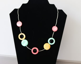 Pink, green and yellow shell necklace