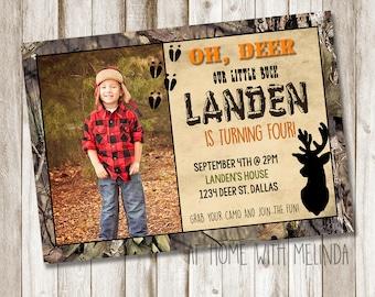 Hunting Birthday Invitation, Hunting Invitation, Hunting Party, Camo Invitation, Camo Birthday, Deer Birthday, Camo, DIGITAL FILE ONLY