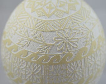 Pysanky-handmade ostrich egg in old etching technique made by Tetyana Bastick