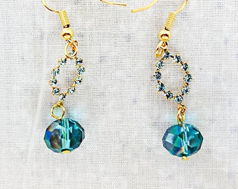TURQUOISE CRYSTAL EARRINGS, turquoise crystal, gold plated ear wire, bridal, dainty earrings, turquoise earrings crystal earrings - 0337